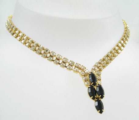 Special Gold Crystal Navette Necklace - Swarovski Crystal
