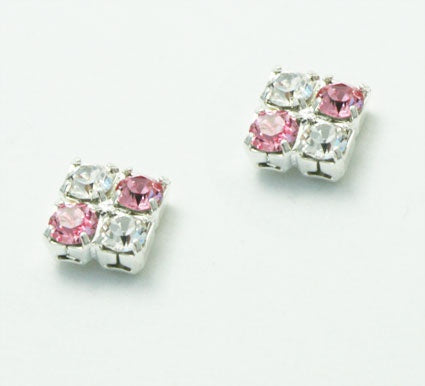 Light Rose and Crystal Stud Earrings