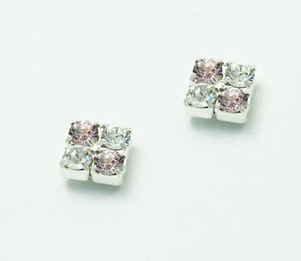 Light Amethyst and Crystal Stud Earrings
