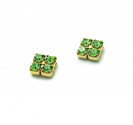 Peridot Crystal Stud Earrings