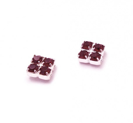 Ruby Crystal Stud Earrings