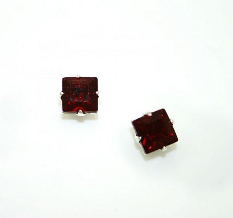 Striking Ruby Square Earrings - In Swarovski Crystal