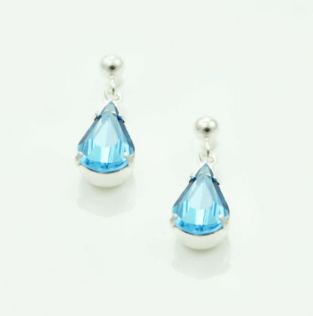 Aqua Tear Drop Earrings - Swarovski Crystal