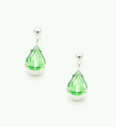 Peridot Tear Drop Earrings - Swarovski Crystal