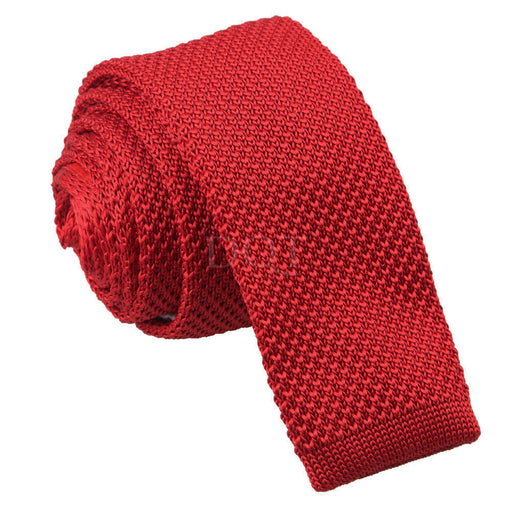 Plain Knitted Skinny Tie - Crimson Red