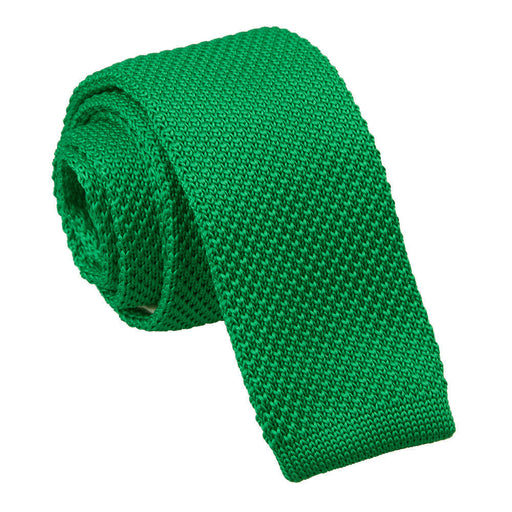 Plain Knitted Skinny Tie - Forest Green