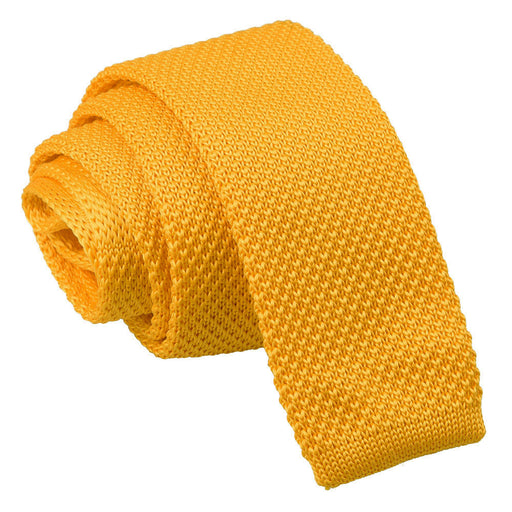 Plain Knitted Skinny Tie - Marigold Yellow