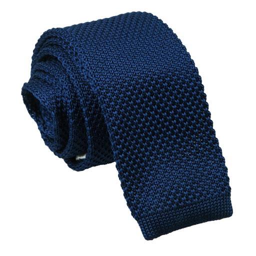 Plain Knitted Skinny Tie - Navy Blue