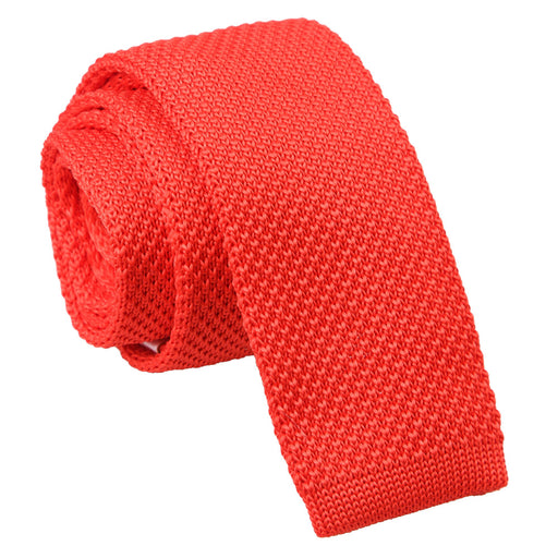 Plain Knitted Skinny Tie - Red