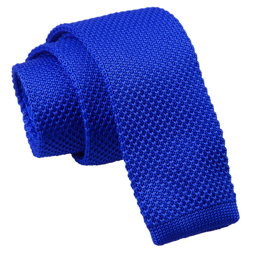 Plain Knitted Skinny Tie - Royal Blue
