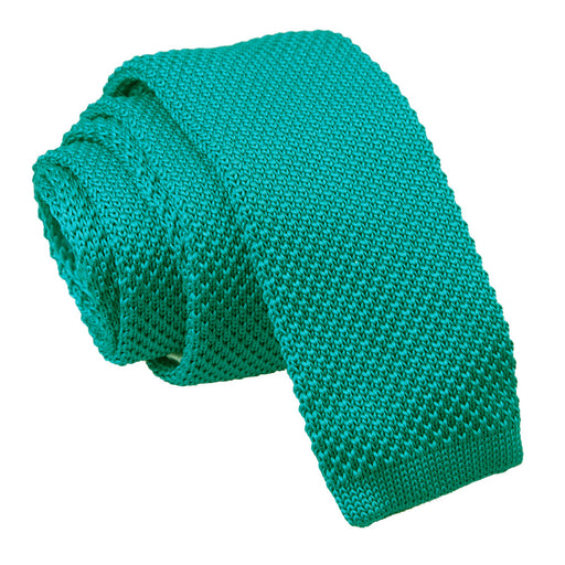 Plain Knitted Skinny Tie - Teal