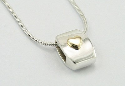 9ct Gold Heart On Sterling Silver Pendant