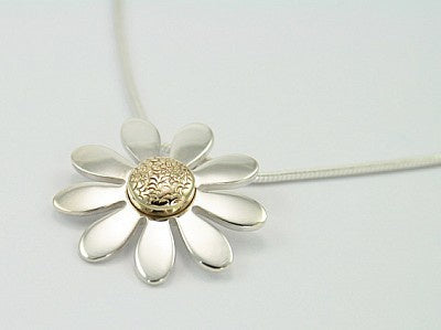 Beautiful Silver & Gold Flower Pendant