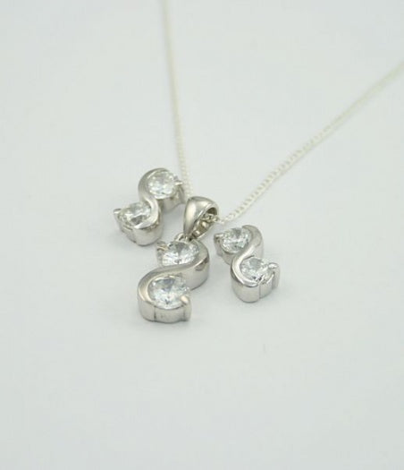 Sterling Silver Twist Pendant Earring Set