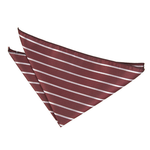 Single Stripe Handkerchief - Burgundy & Silver