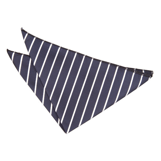 Single Stripe Handkerchief - Navy & White