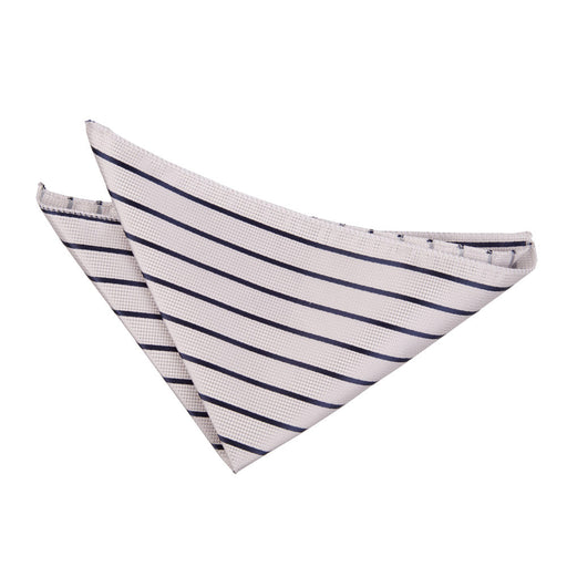 Single Stripe Handkerchief - Silver & Navy
