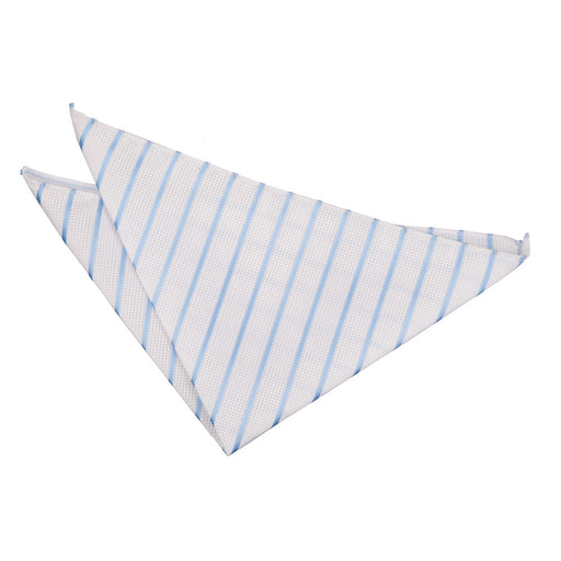 Single Stripe Handkerchief - White & Baby Blue