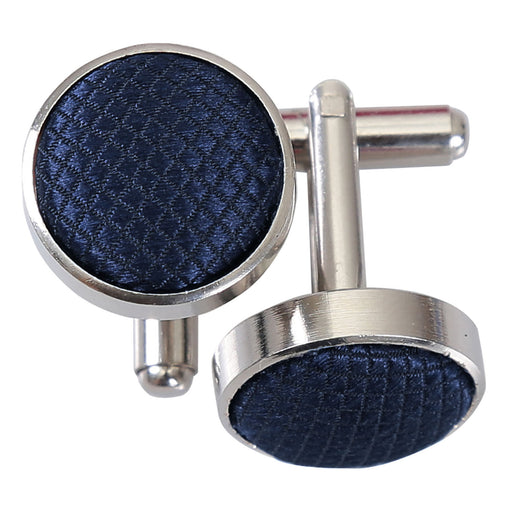 Solid Check Cufflinks - Navy Blue