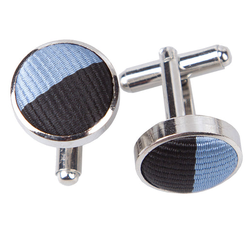 Striped Cufflinks - Baby Blue & Black