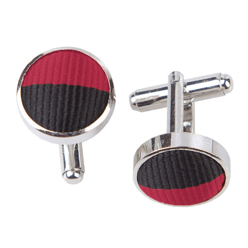 Striped Cufflinks - Burgundy & Black