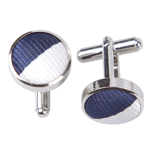 Striped Cufflinks - Navy & White