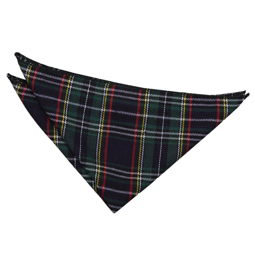 Tartan Handkerchief - Black & Green with Thin Stripes