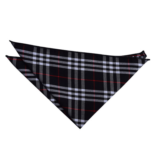 Tartan Handkerchief - Navy & White with Red