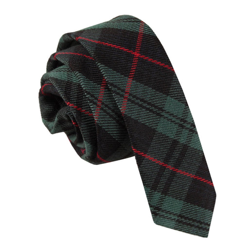 Tartan Skinny Tie - Black & Green with Red