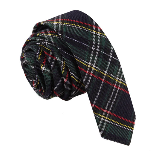 Tartan Skinny Tie - Black & Green with Thin Stripes