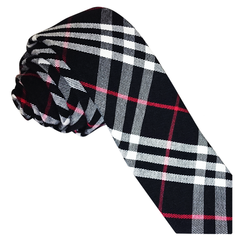 Tartan Skinny Tie - Black & White with Red