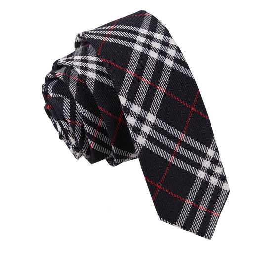 Tartan Skinny Tie - Navy & White with Red