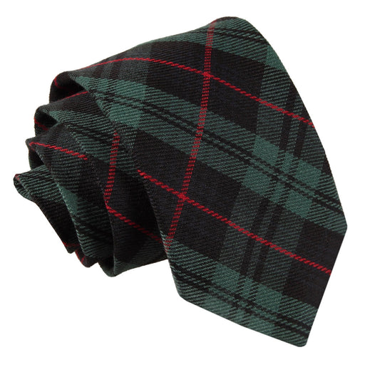 Tartan Classic Tie - Black & Green with Red