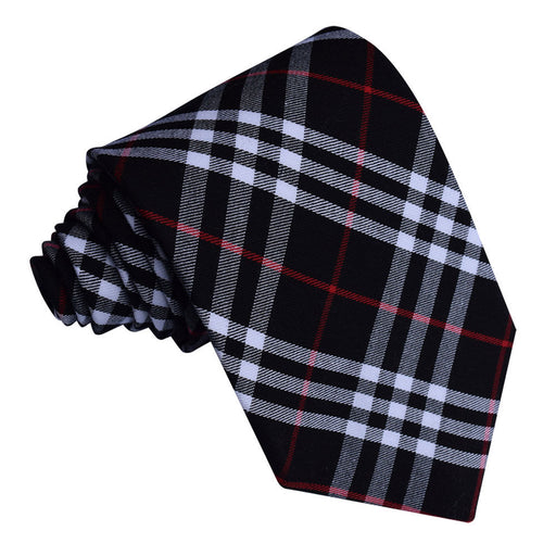 Tartan Classic Tie - Black & White with Red