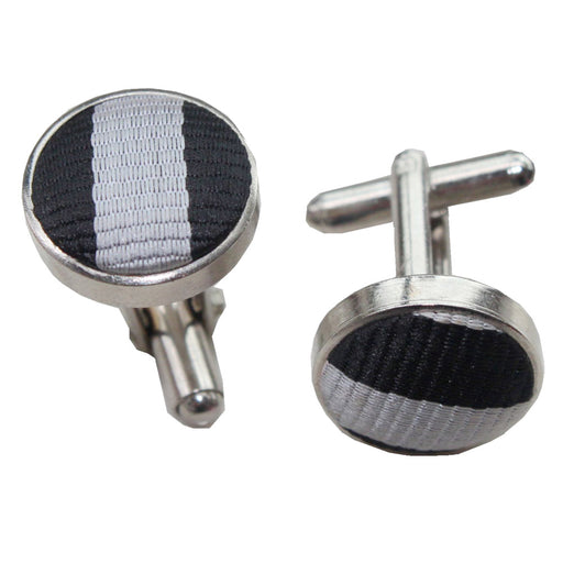 Thin Stripe Cufflinks - Black & Grey