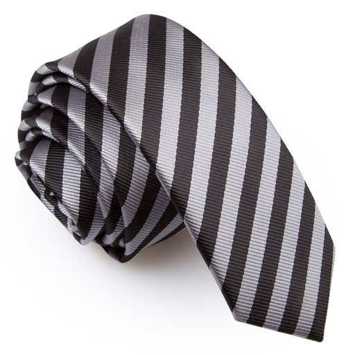 Thin Stripe Skinny Tie - Black & Grey