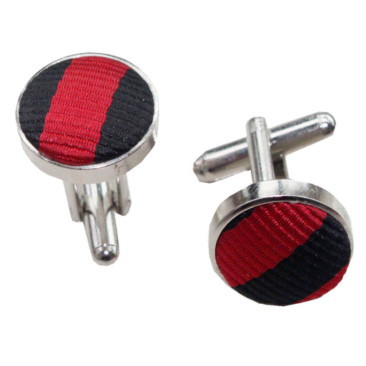Thin Stripe Cufflinks - Black & Red
