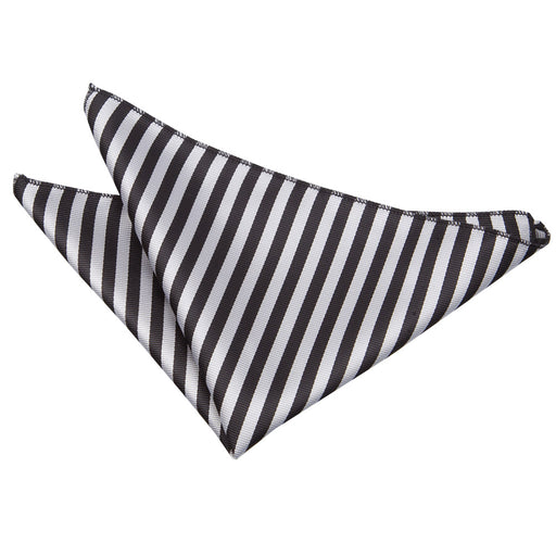 Thin Stripe Handkerchief - Black & Silver