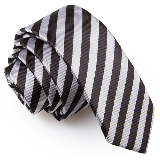 Thin Stripe Skinny Tie - Black & Silver