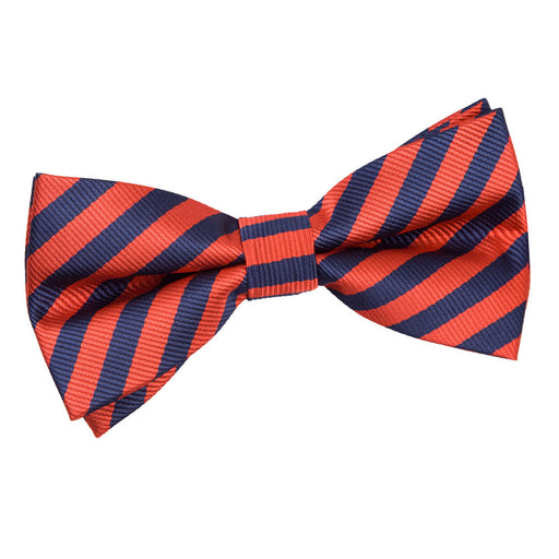 Thin Stripe Pre-Tied Bow Tie - Navy Blue & Red