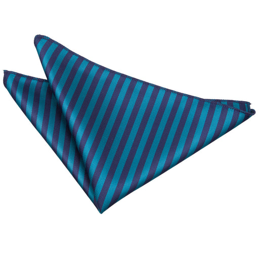 Thin Stripe Handkerchief - Navy Blue & Teal
