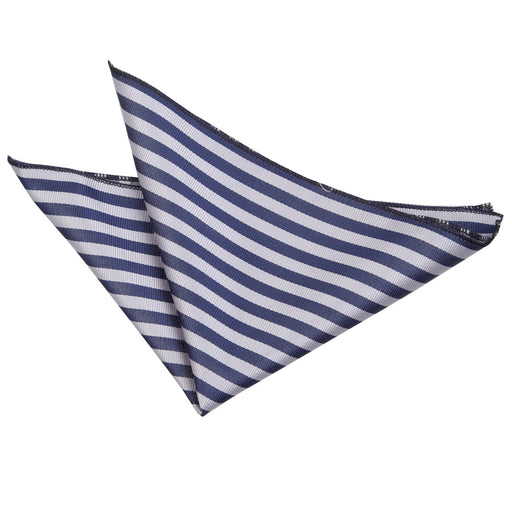 Thin Stripe Handkerchief - Navy Blue & Silver