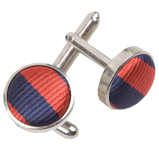 Thin Stripe Cufflinks - Navy Blue & Red