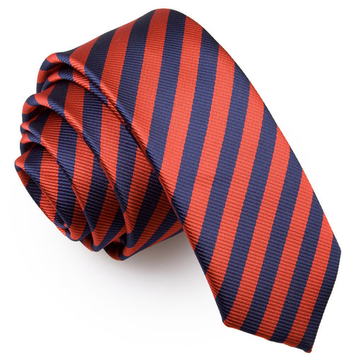 Thin Stripe Skinny Tie - Navy Blue & Red