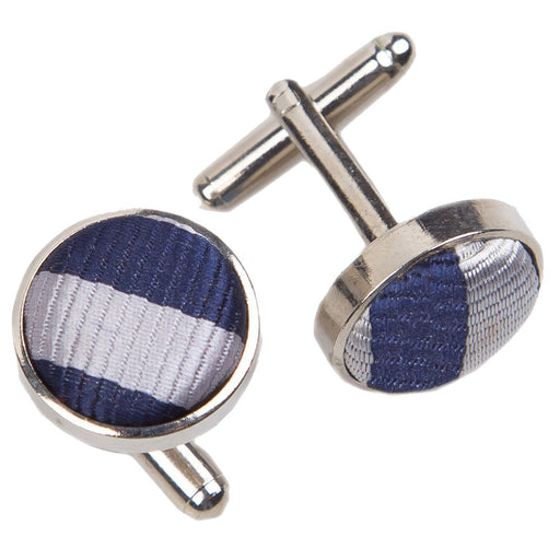 Thin Stripe Cufflinks - Navy Blue & Silver