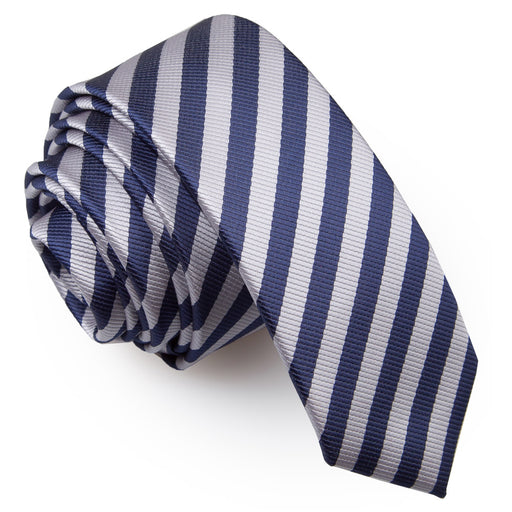 Thin Stripe Skinny Tie - Navy Blue & Silver