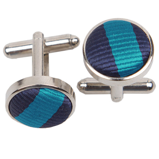 Thin Stripe Cufflinks - Navy Blue & Teal