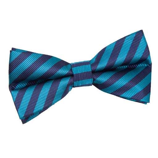 Thin Stripe Pre-Tied Bow Tie - Navy Blue & Teal