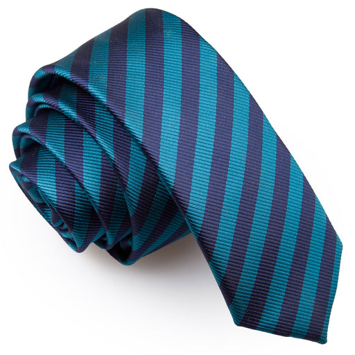 Thin Stripe Skinny Tie - Navy Blue & Teal