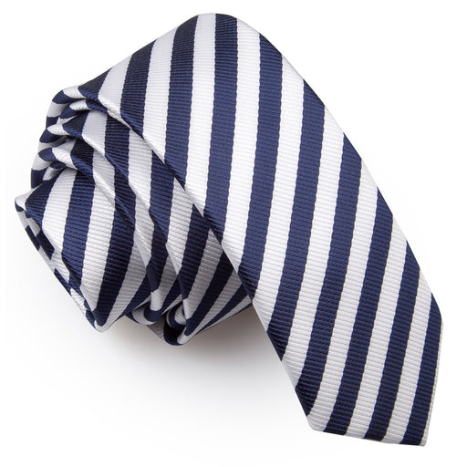 Thin Stripe Skinny Tie - White & Navy Blue